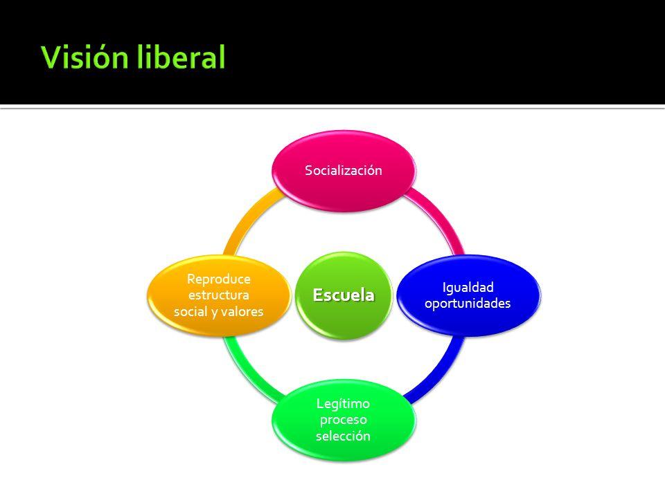 Visión liberal Socialización Igualdad oportunidades