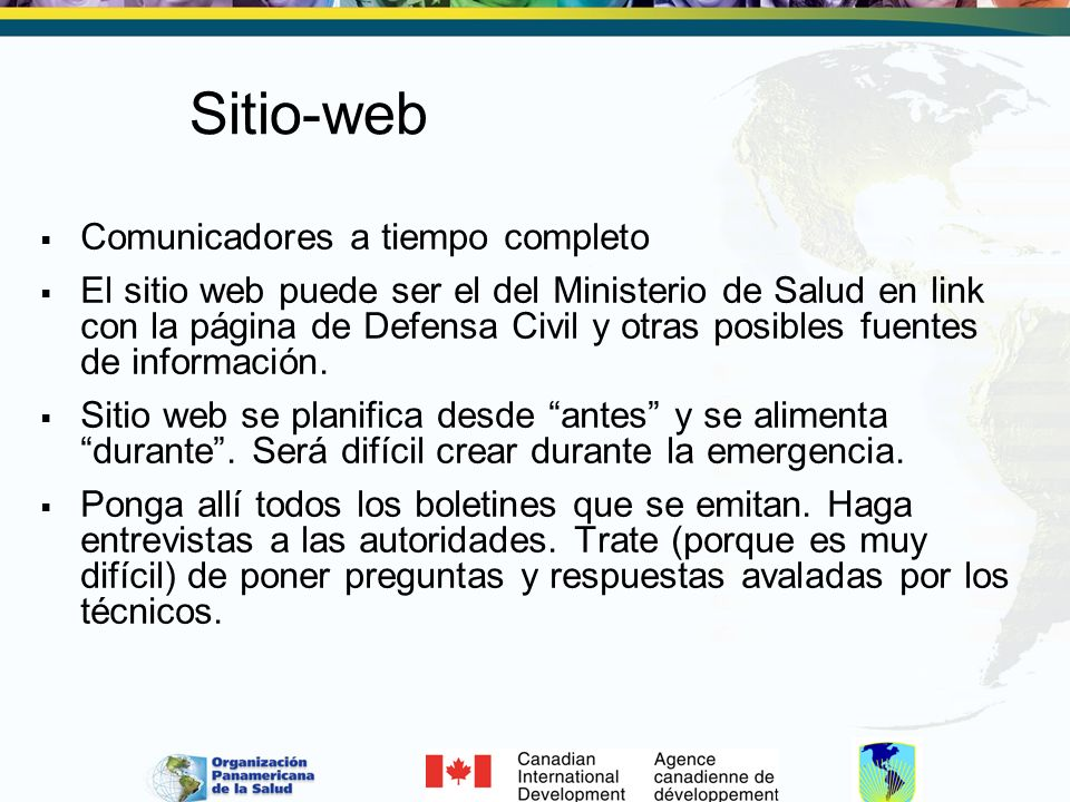 Sitio-web Comunicadores a tiempo completo