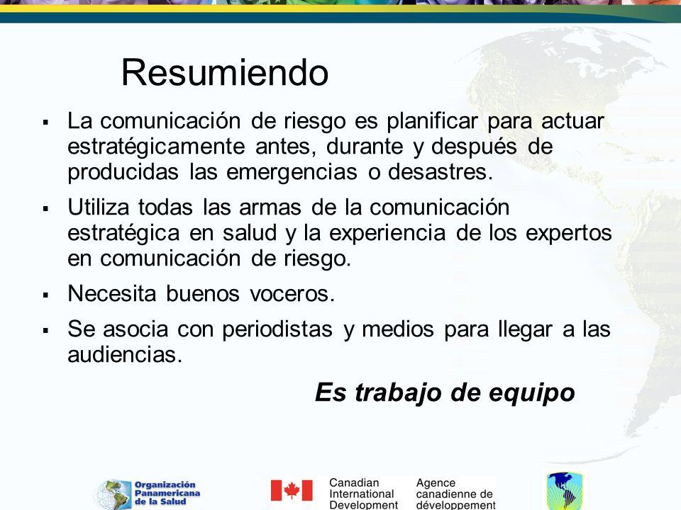 Resumiendo La comunicación de riesgo es planificar para actuar estratégicamente antes, durante y después de producidas las emergencias o desastres.