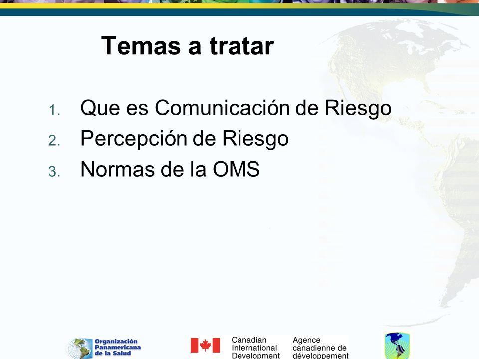 Temas a tratar Que es Comunicación de Riesgo Percepción de Riesgo