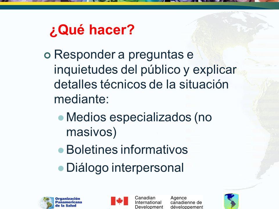 ¿Qué hacer Responder a preguntas e inquietudes del público y explicar detalles técnicos de la situación mediante: