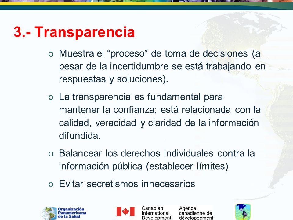 3.- Transparencia Muestra el proceso de toma de decisiones (a pesar de la incertidumbre se está trabajando en respuestas y soluciones).
