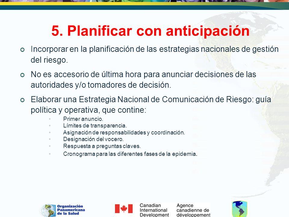 5. Planificar con anticipación