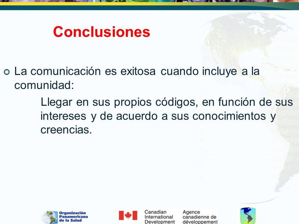 Conclusiones La comunicación es exitosa cuando incluye a la comunidad: