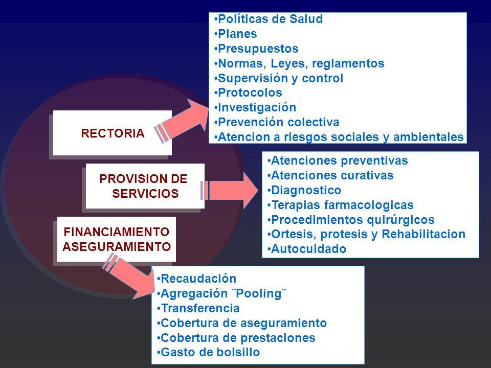 Políticas de Salud Planes. Presupuestos. Normas, Leyes, reglamentos. Supervisión y control. Protocolos.