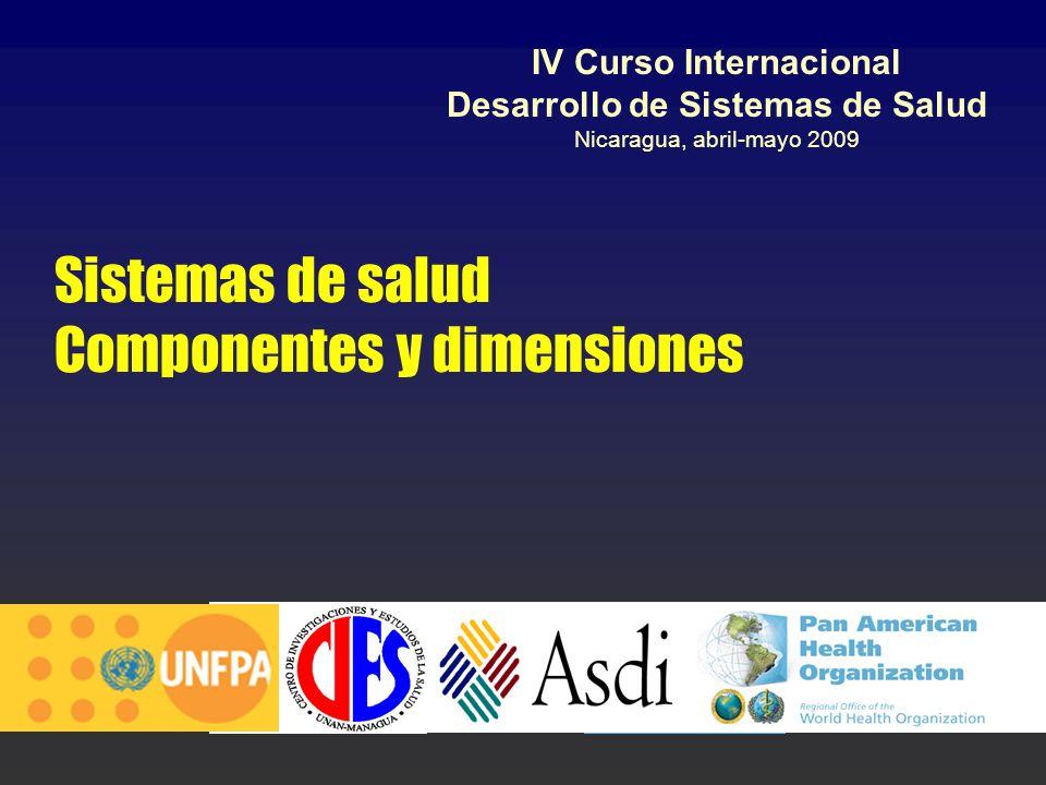Sistemas de salud Componentes y dimensiones