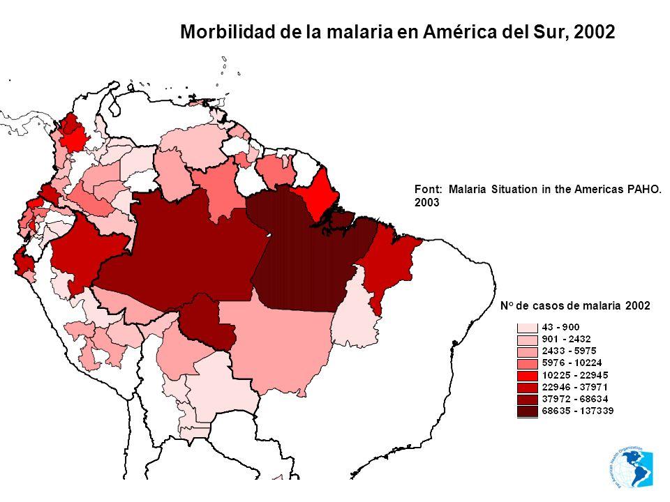 Morbilidad de la malaria en América del Sur, 2002