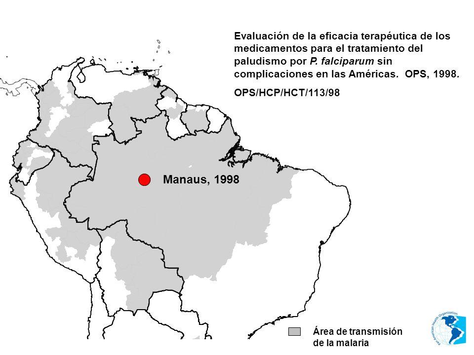 Evaluación de la eficacia terapéutica de los medicamentos para el tratamiento del paludismo por P. falciparum sin complicaciones en las Américas. OPS, 1998.