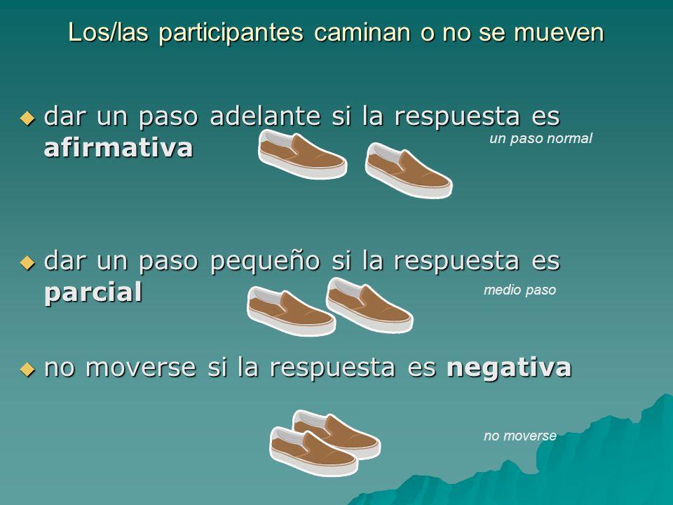 Los/las participantes caminan o no se mueven