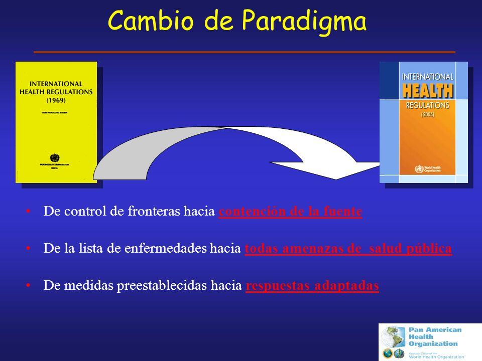Cambio de Paradigma De control de fronteras hacia contención de la fuente. De la lista de enfermedades hacia todas amenazas de salud pública.