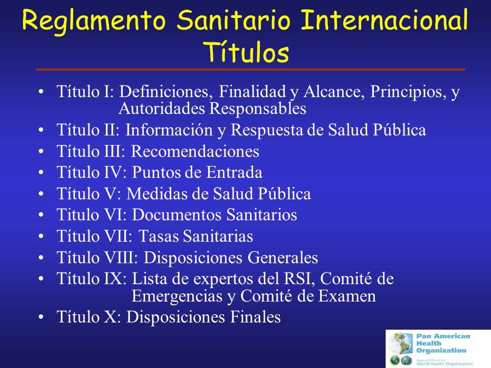 Reglamento Sanitario Internacional Títulos
