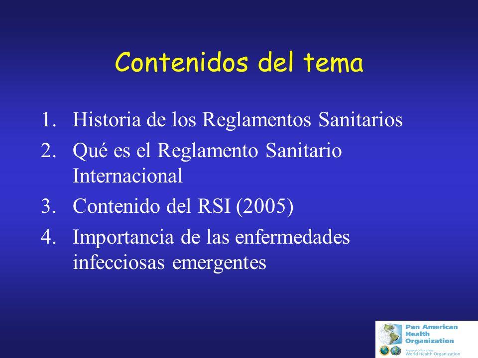 Contenidos del tema Historia de los Reglamentos Sanitarios
