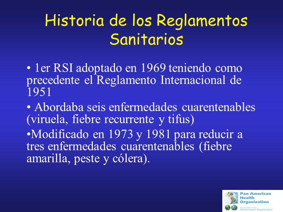 Historia de los Reglamentos Sanitarios