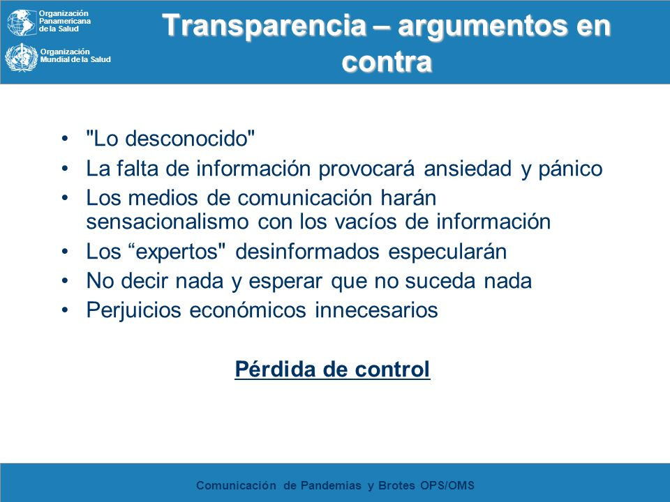 Transparencia – argumentos en contra