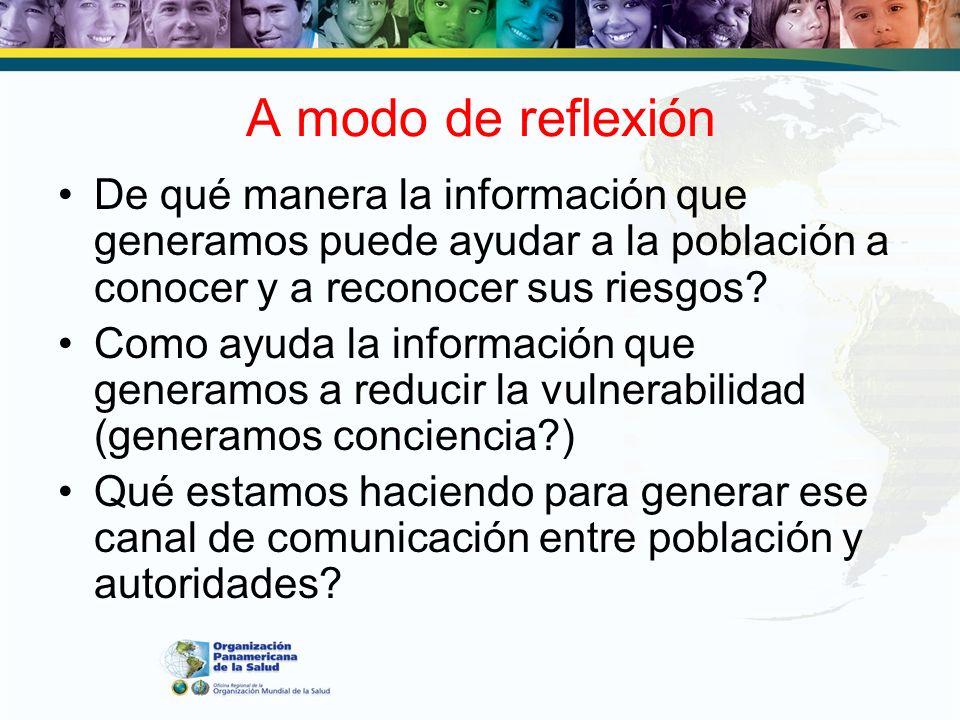 A modo de reflexión De qué manera la información que generamos puede ayudar a la población a conocer y a reconocer sus riesgos