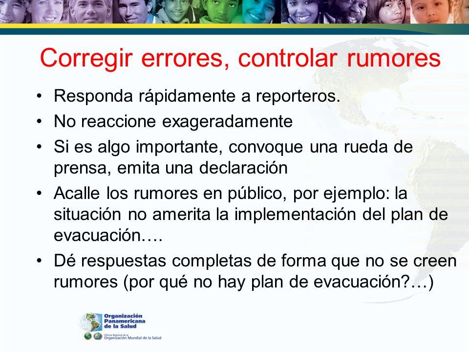 Corregir errores, controlar rumores
