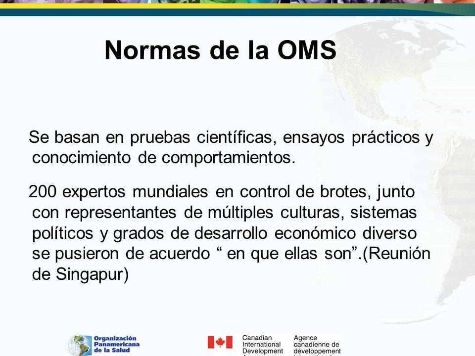 Normas de la OMSSe basan en pruebas científicas, ensayos prácticos y conocimiento de comportamientos.