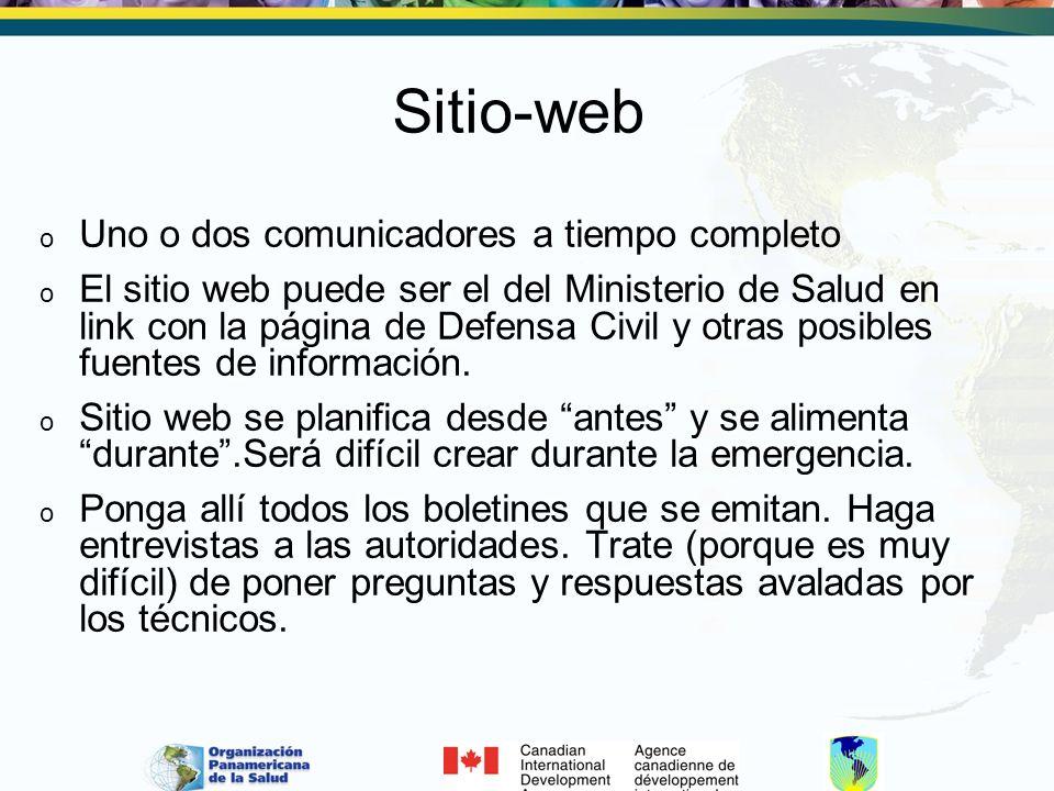 Sitio-web Uno o dos comunicadores a tiempo completo