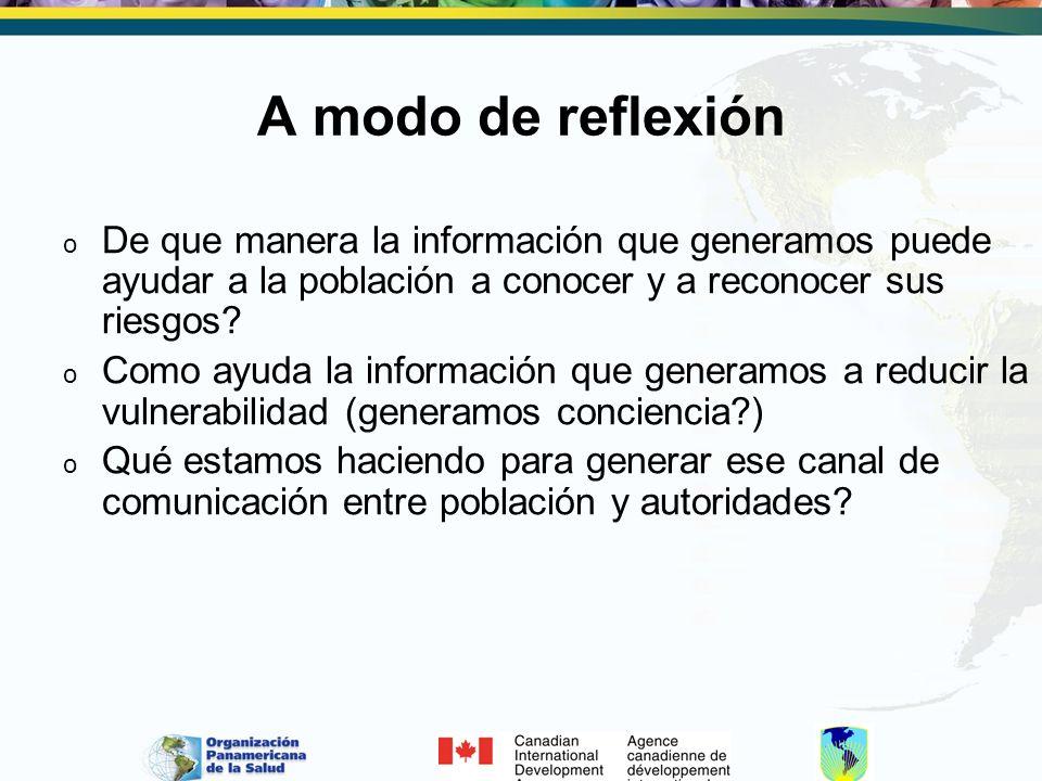 A modo de reflexión De que manera la información que generamos puede ayudar a la población a conocer y a reconocer sus riesgos