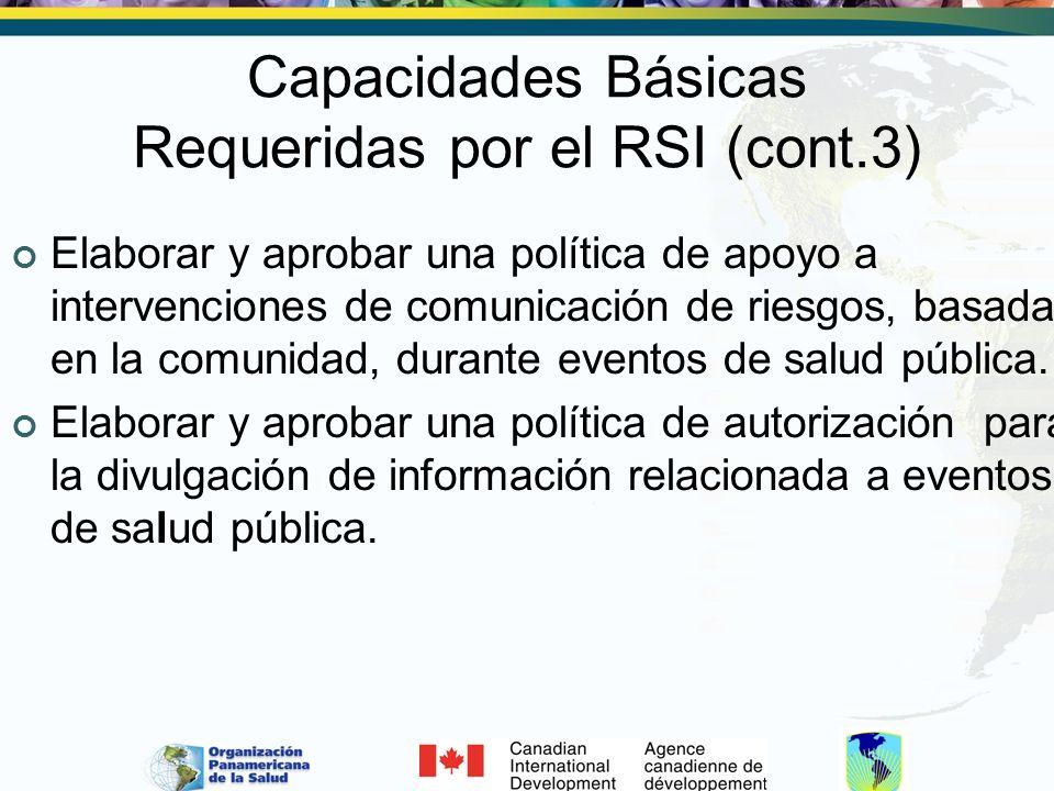 Capacidades Básicas Requeridas por el RSI (cont.3)
