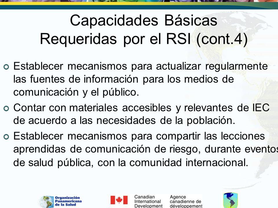 Capacidades Básicas Requeridas por el RSI (cont.4)