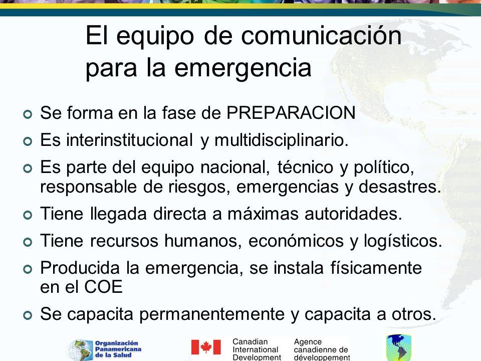 El equipo de comunicación para la emergencia