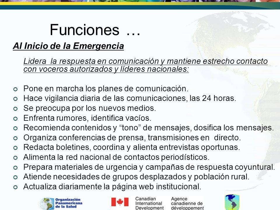 Funciones … Al Inicio de la Emergencia