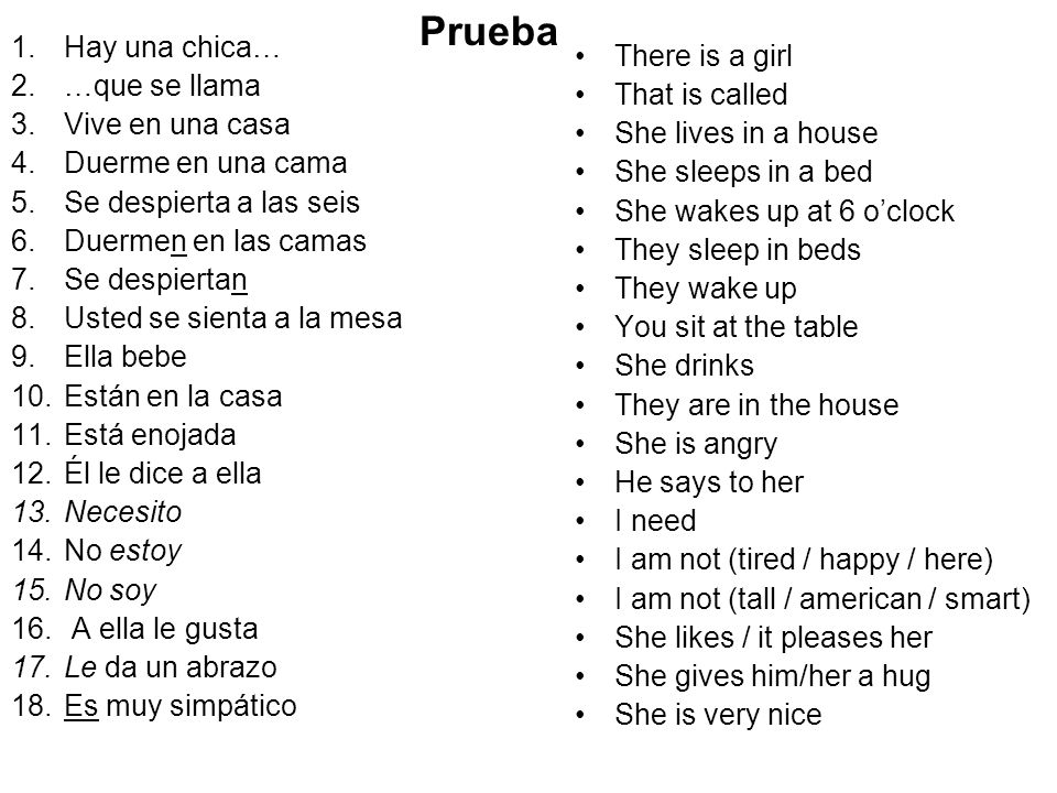 Prueba Hay una chica… There is a girl …que se llama That is called