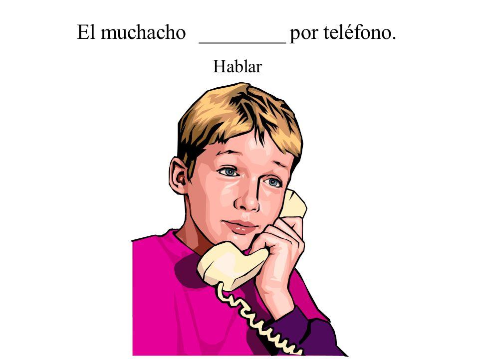 El muchacho ________ por teléfono.