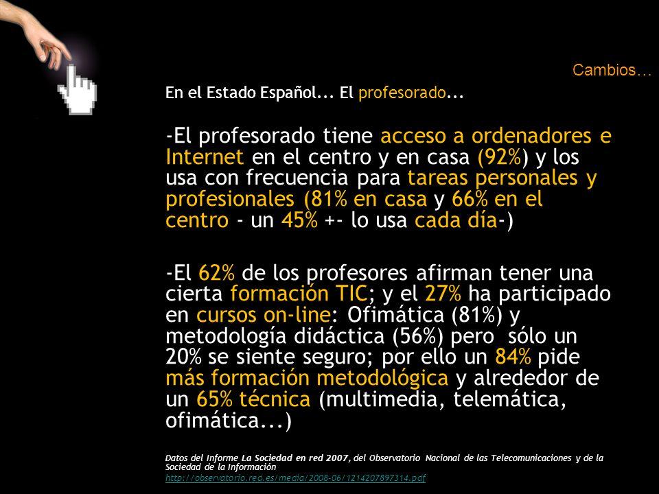 Cambios… En el Estado Español... El profesorado...