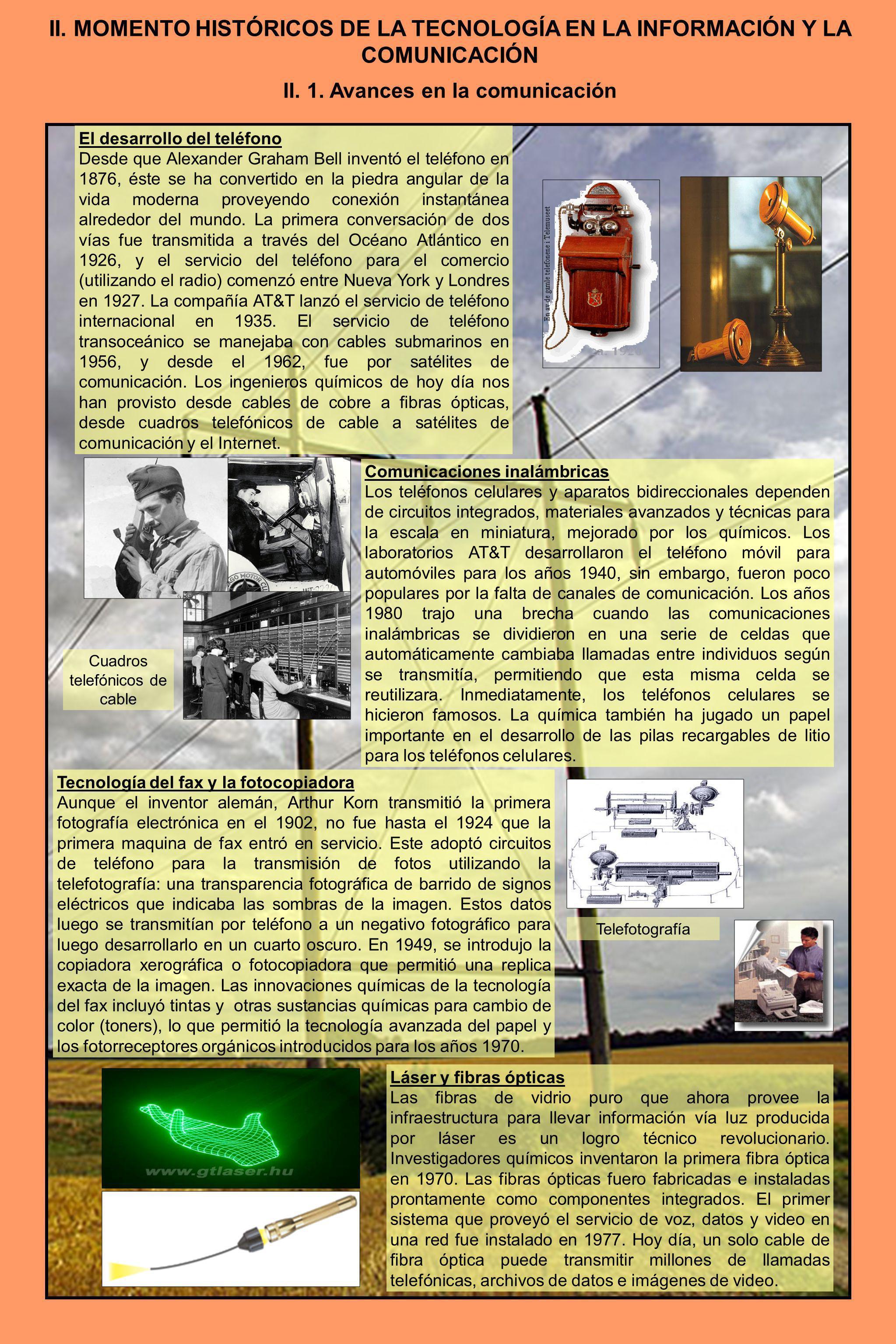 II. MOMENTO HISTÓRICOS DE LA TECNOLOGÍA EN LA INFORMACIÓN Y LA COMUNICACIÓN