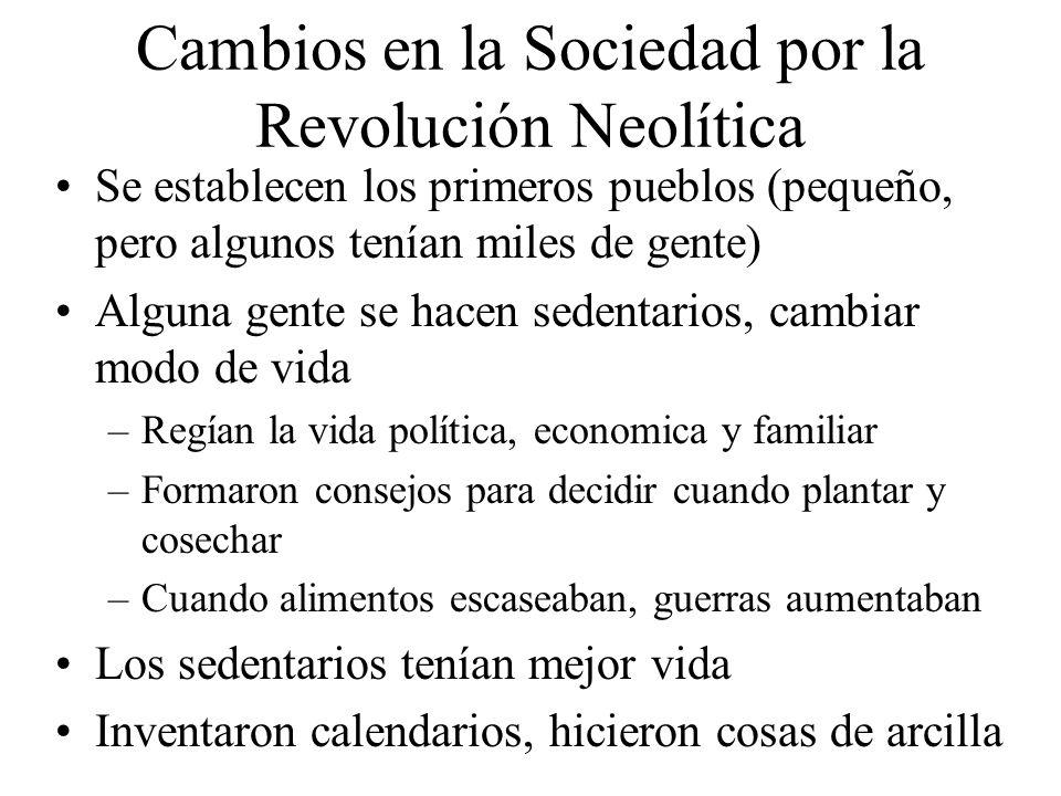 Cambios en la Sociedad por la Revolución Neolítica