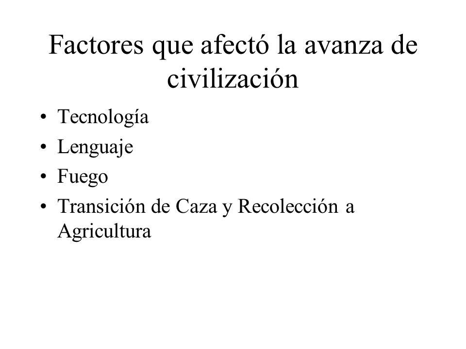 Factores que afectó la avanza de civilización