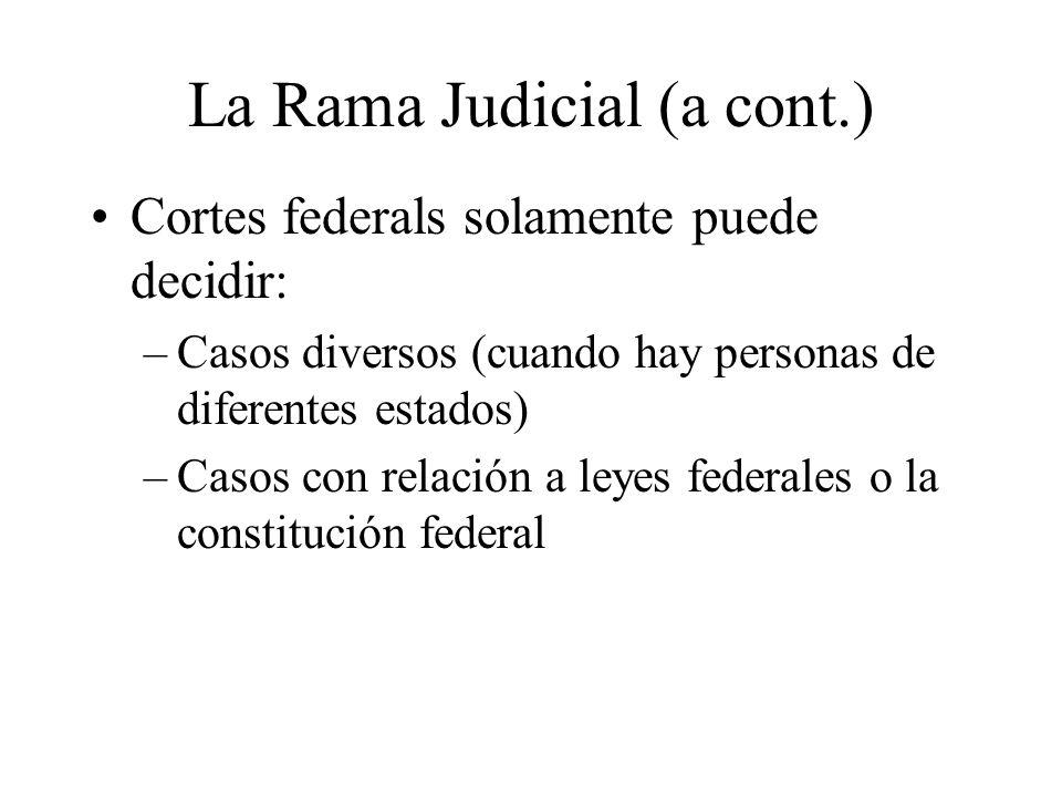 La Rama Judicial (a cont.)