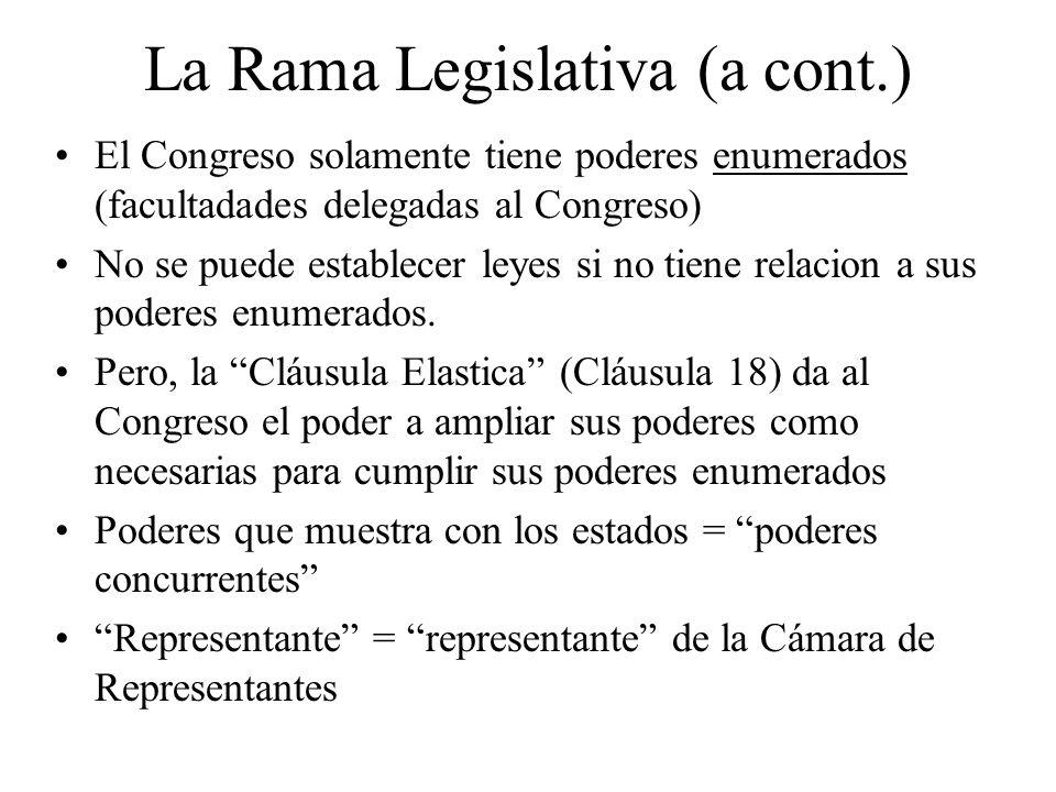 La Rama Legislativa (a cont.)