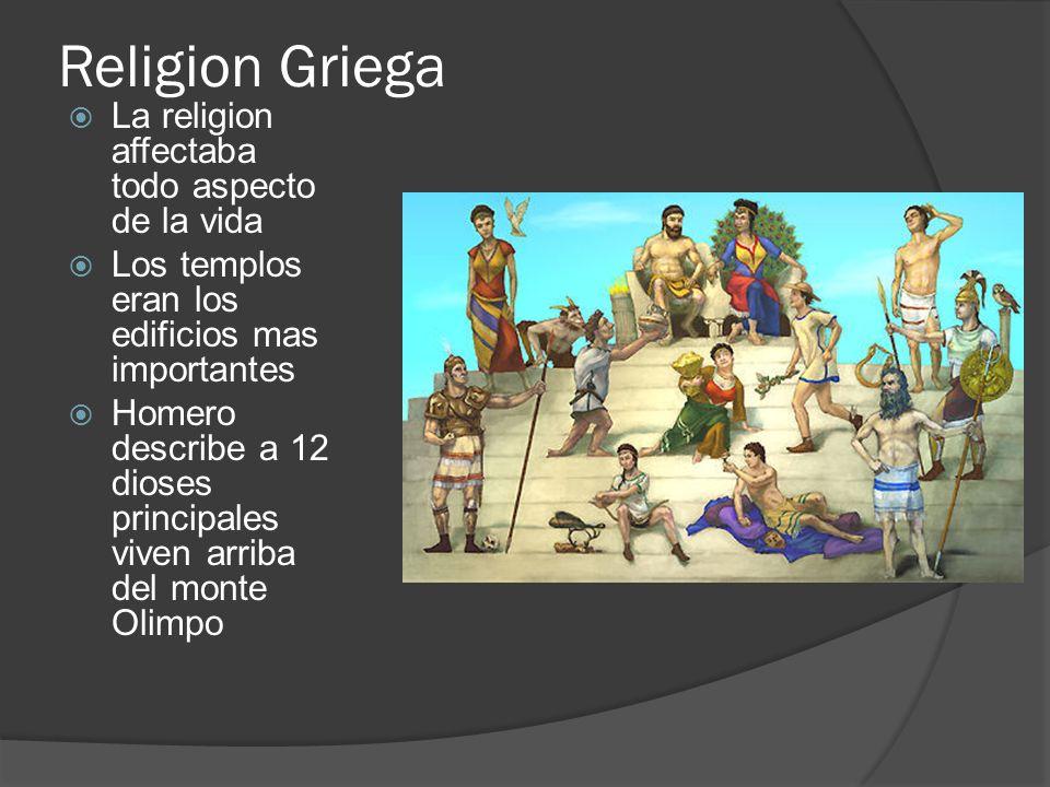 Religion Griega La religion affectaba todo aspecto de la vida