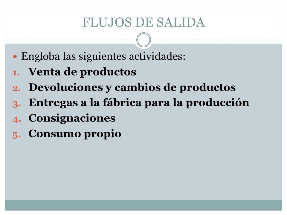 FLUJOS DE SALIDA Engloba las siguientes actividades: