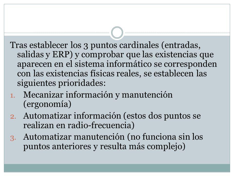 Tras establecer los 3 puntos cardinales (entradas, salidas y ERP) y comprobar que las existencias que aparecen en el sistema informático se corresponden con las existencias físicas reales, se establecen las siguientes prioridades: