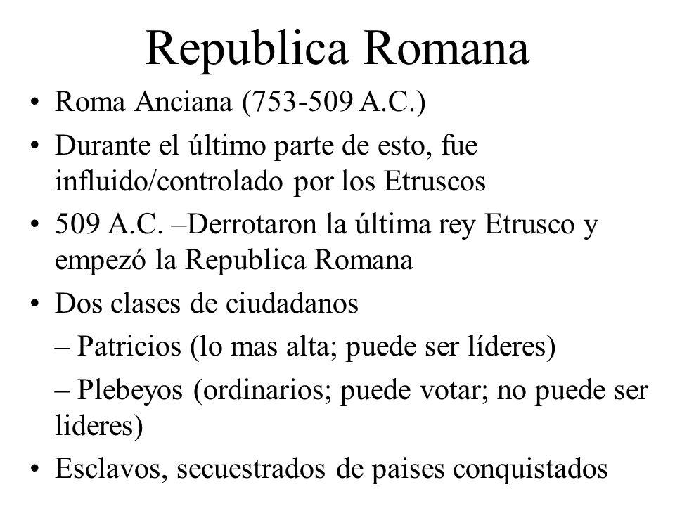 Republica Romana Roma Anciana (753-509 A.C.)