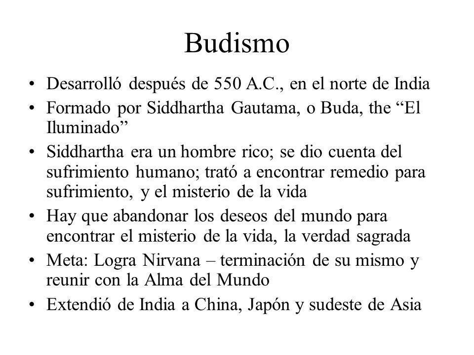 Budismo Desarrolló después de 550 A.C., en el norte de India
