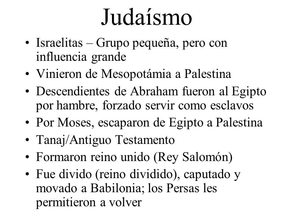 Judaísmo Israelitas – Grupo pequeña, pero con influencia grande