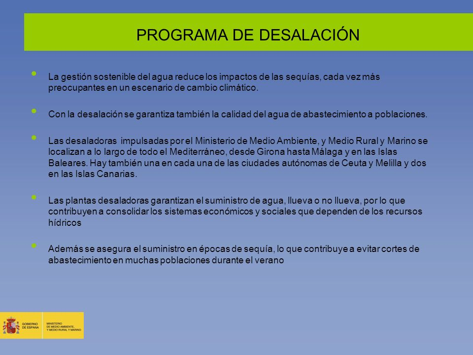 PROGRAMA DE DESALACIÓN