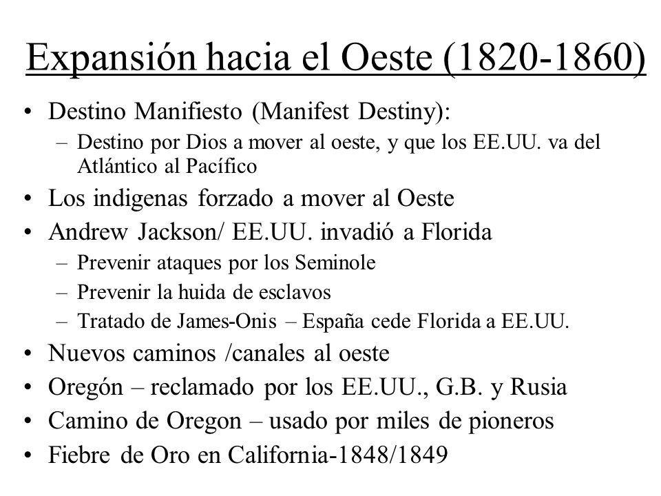 Expansión hacia el Oeste (1820-1860)