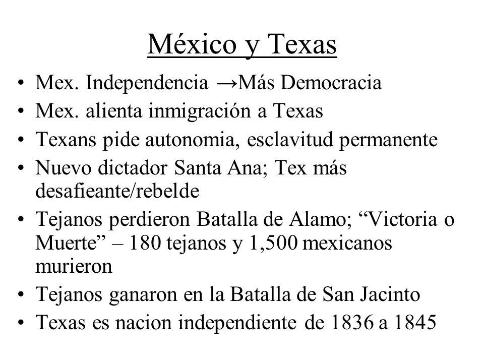 México y Texas Mex. Independencia →Más Democracia
