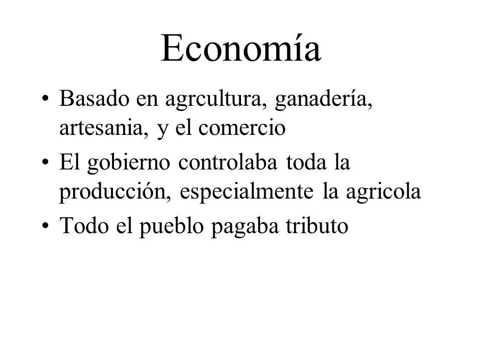 Economía Basado en agrcultura, ganadería, artesania, y el comercio