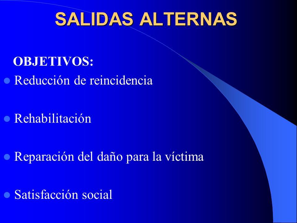 SALIDAS ALTERNAS OBJETIVOS: Reducción de reincidencia Rehabilitación
