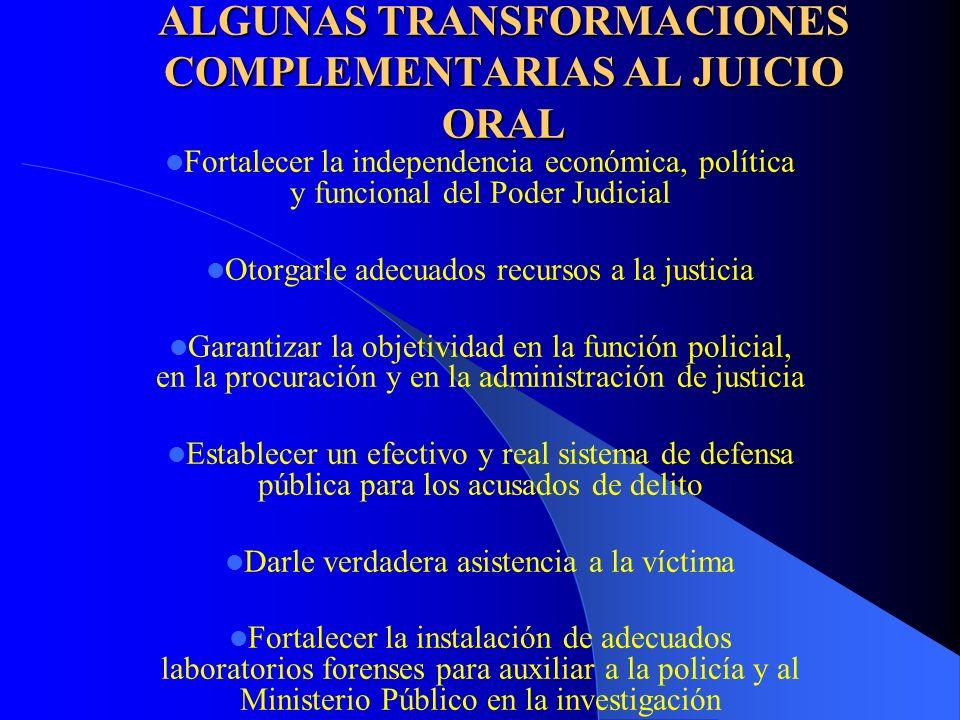 ALGUNAS TRANSFORMACIONES COMPLEMENTARIAS AL JUICIO ORAL