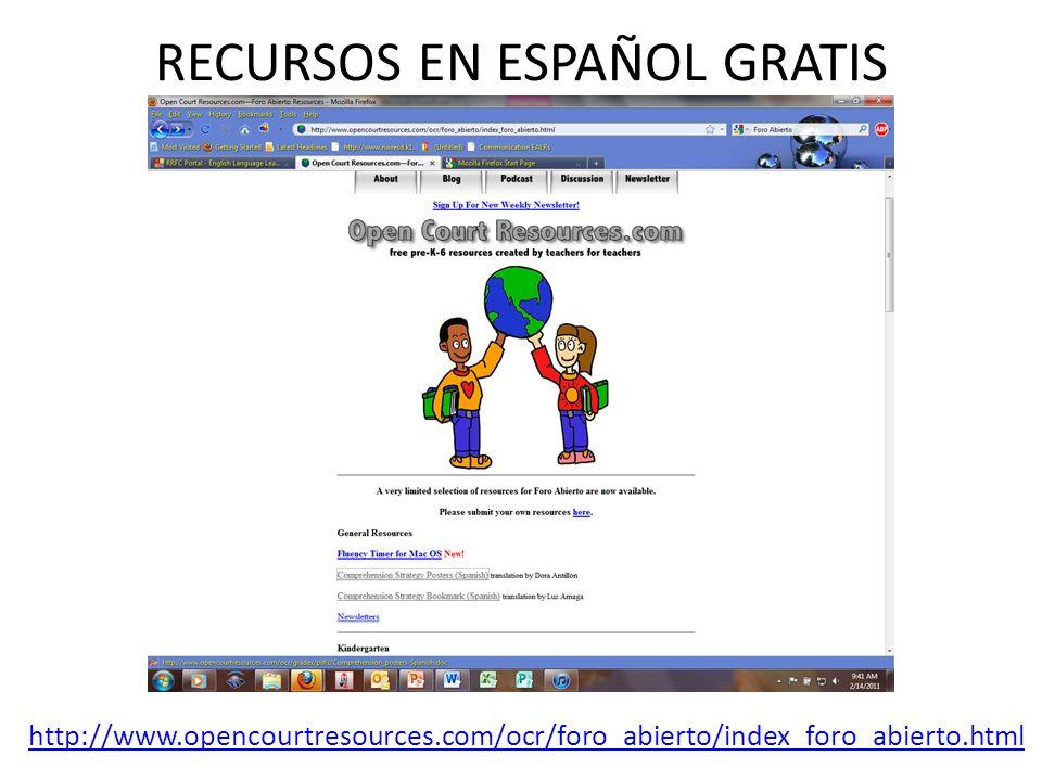 RECURSOS EN ESPAÑOL GRATIS