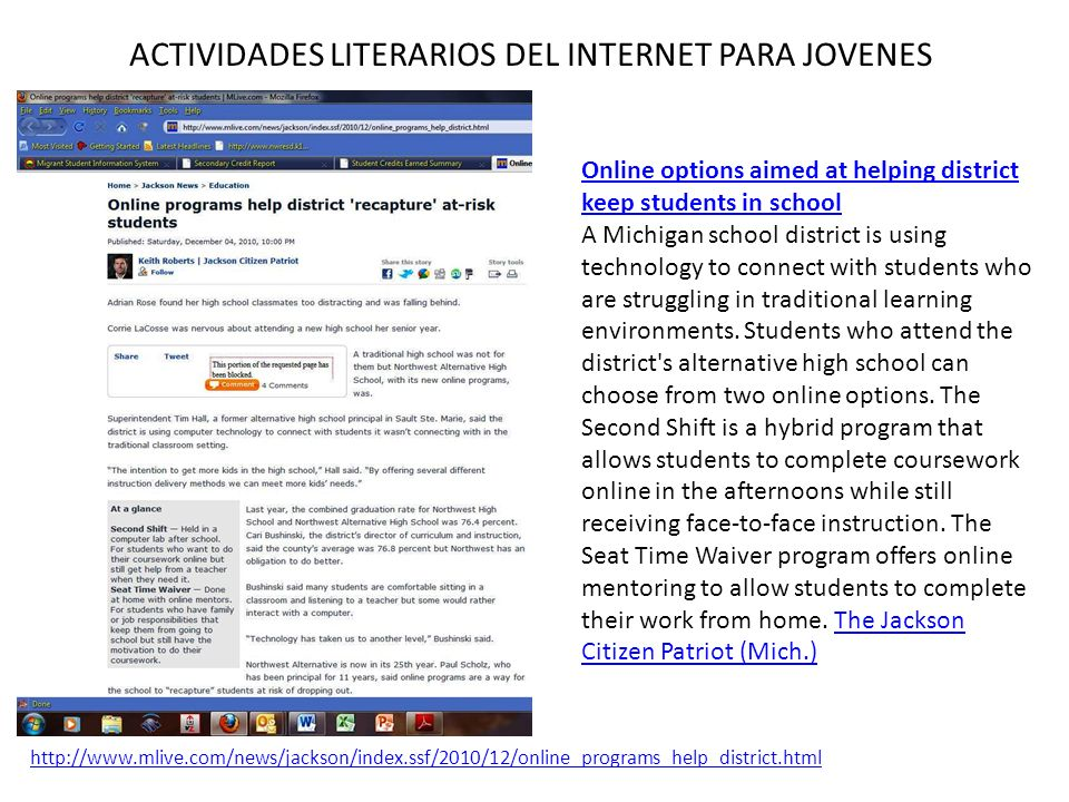 ACTIVIDADES LITERARIOS DEL INTERNET PARA JOVENES