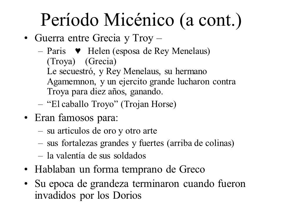 Período Micénico (a cont.)